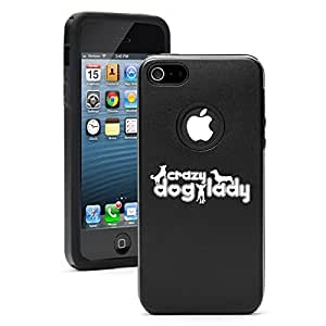 Apple iPhone 5c Aluminum Silicone Dual Layer Hard Case Cover Crazy Dog Lady (Black)