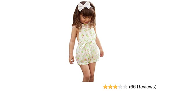 721ef93282 Amazon.com  Pretty Girls Floral Playsuit One-piece Kids Baby Romper Shorts  Lace Clothes 2-7y  Clothing