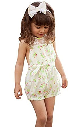 81ecc25a03e7 Pretty Girls Floral Playsuit One-piece Kids Baby Romper Shorts Lace Clothes  2-7y