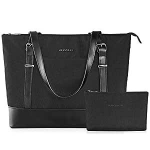 Roser Laptop Tote Bag 15.6 Inch Large Shoulder Bag Lightweight Water-Repellent Nylon Computer Tote Bag Women Stylish Handbag for Work/Business/School/College/Travel-Black