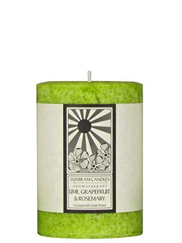 - Sunbeam Candles Classic Lime, Grapefruit, Rosemary Aromatherapy Pillar - 3