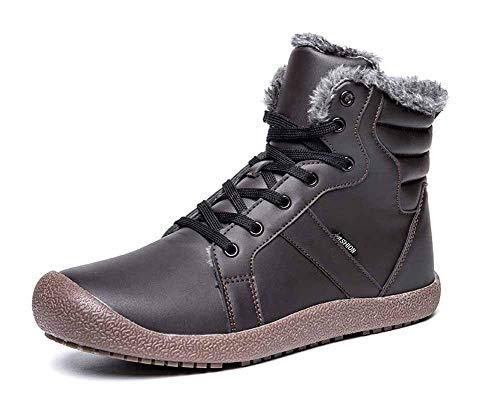 Amitafo Stivaletti Caviglia Donna Uomo Stivali da Neve Impermeabile Invernali Scarpe Pelliccia Caldo Stringate Boots All'aperto Scarpe Sportive Marrone