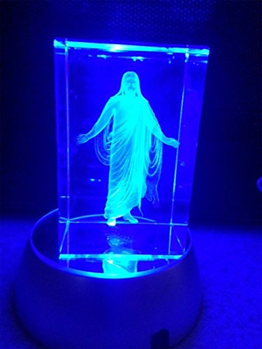In The Arms of Jesus Night Light or Desk Display Christus in Crystal 3 inches tall with plug in power supply, rotating LED light base with rainbow colored light, in royal blue gift box.