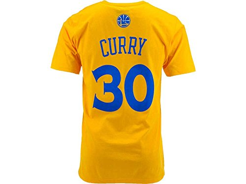 Stephen Curry Golden State Warriors Gold Jersey Name and Number T-shirt (X-Large)