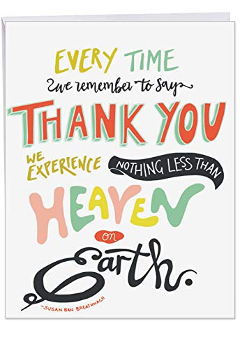'Words of Appreciation' Card, XL Thank You Card With Envelope 8.5 x 11 Inch Cute, Colorful Fonts Quote, Large Appreciation Greeting Card for Family, Friends of All Ages J9633DTYG