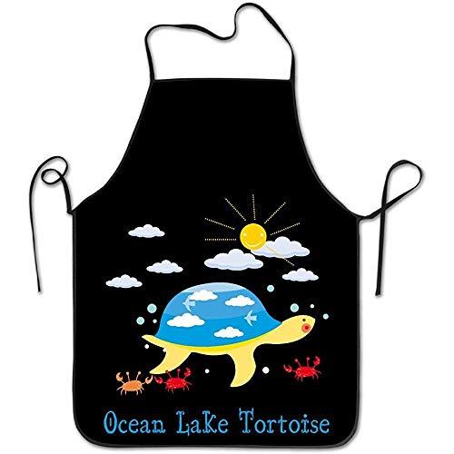 Ashasds Kitchen Apron for Women Retro Apron Dress Men Cooking Apron Pinafore Ocean Lake Tortoise Apron]()