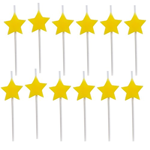 Dept. 67, 12 Pack, Star Birthday Candles, Cake Topper, Cupcake Toppers, Cake Decorating Supplies, Bulk Party Supplies for Kids and ()