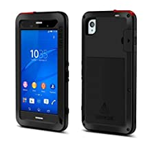 Sony Xperia Z5 Premium Case, Feitenn Shockproof Hard Military Aluminum Metal Heavy duty Armor Gorilla Glass Dust/Dirt/Snow Proof Water resistant Case For Xperia Z5 Plus Outdoor sport use (Black)