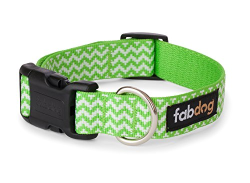 fabdog Chevron Stripe Dog Collar Lime (Small)