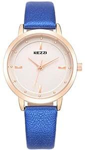 WUTAN Women's Wrist Watch Fashion Analog Quartz Ladies Dress Wristwatches with Rose Gold Case White Leather Band