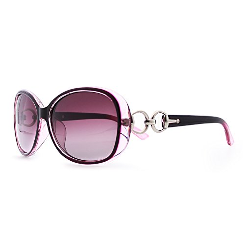 VeBrellen Luxury Transparent Women's Polarized Sunglasses Retro Eyewear Oversized Square Frame Goggles Eyeglasses (Transport Frame With Purple Lens, ()