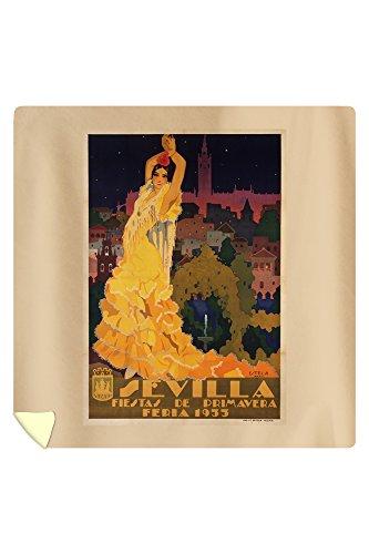 Sevilla - Fiestas de Primavera Vintage Poster (artist: Estela Anton) Spain c. 1932 (88x88 Queen Microfiber Duvet Cover) by Lantern Press
