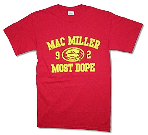 Mac Miller 1992 Most Dope Yellow Print Logo Red T Shirt - Miller Mac Apparel