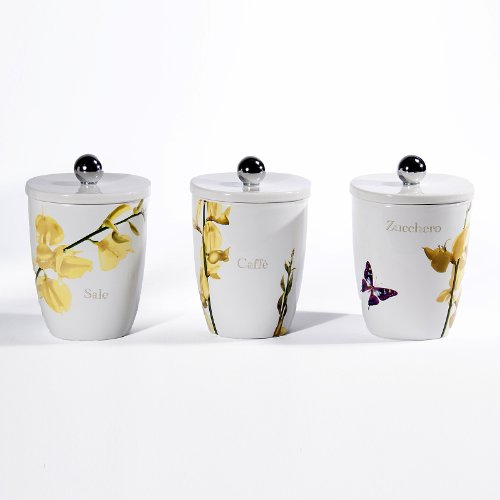 Cucina Vivere Estate Square Canisters, Set of 3 by Intrada Italy
