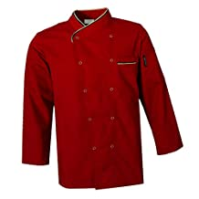 Baosity Chef Coat Jacket Men Women Kitchen LongSleeve Cook Work Restaurant Uniform - Red, L
