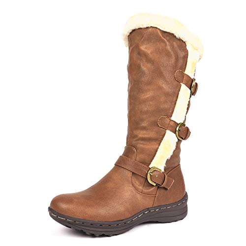 DREAM PAIRS Minx Women's Winter Fully Fur Lined Triple Buckle Ruched Snow Knee High Boots Camel PU-SZ-8