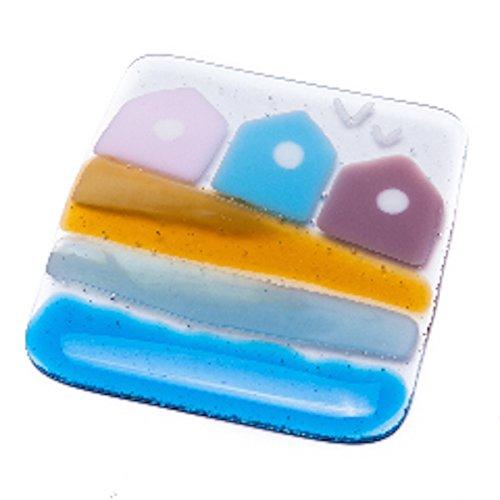 Compra Dos posavasos cristal diseño de casetas de playa fused - dos unidades - mano-fabricado en Sussex en Amazon.es
