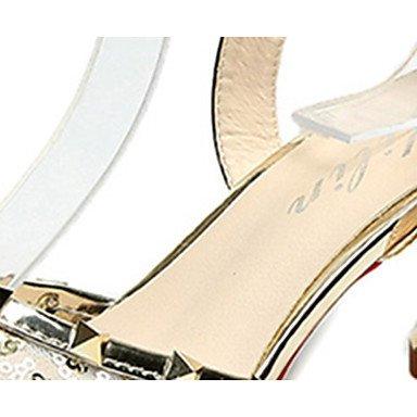 LvYuan Mujer Sandalias Confort PU Verano Casual Paseo Confort Hebilla Tacón Stiletto Dorado Negro Rosa 7'5 - 9'5 cms Gold