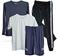 4 Pack: Boys Youth Teen Activewear Collection Dry-Fit Short Sleeve & Long-Sleeve Top Mesh Short Tricot Jog