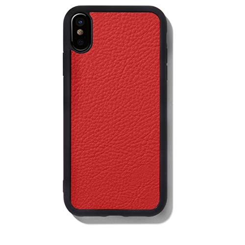 (iPhone Xs Max Case - Full Grain Leather Leather - Scarlet (Red))