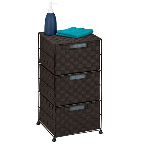 Honey-Can-Do OFC-03714 Double Woven 3-Drawer Storage Organizer Chest, Espresso Brown, 12.01L x 12.01W x 24.02H - 3 Piece Honey Finish