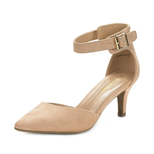 Dream Pairs Women's Lowpointed Nude Suede Low Heel Dress Pump Shoes – 10 M US