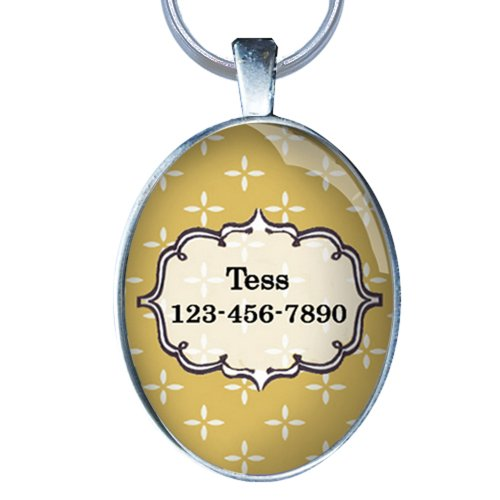 Price comparison product image Colorful Pet Id Tag - Beautiful Custom Dog Id Tag- OVAL - Dog Tag Great for Cats and Small Breed Dogs - From California Mutts!
