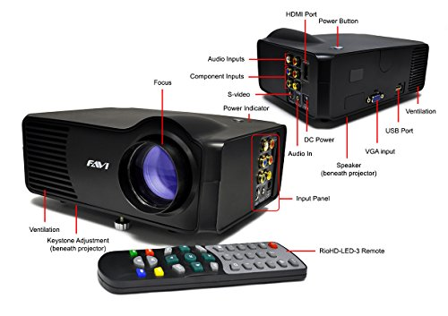 FAVI LED-3 LED LCD (SVGA) Mini Video Projector - US Version (Includes Warranty) - Black (RioHD-LED-3) by FAVI (Image #3)