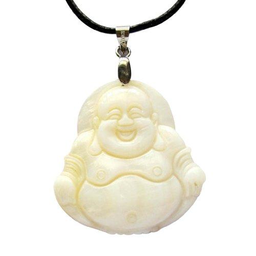 OVALBUY Shell Tibetan Buddhist Smile Buddha Amulet Pendant ()