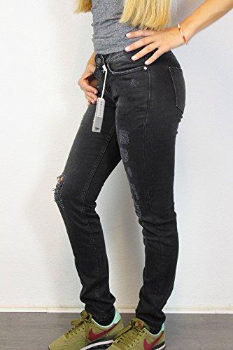 TIGHA Damen Jeans W25 Schwarz Jill Slim Fit Vintage Black Destroyed Denim #O160