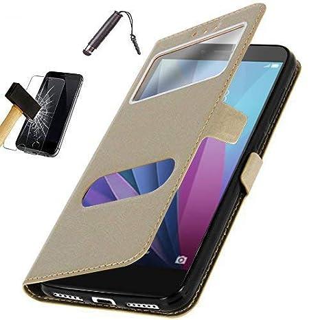 Funda Carcasa Oro con Ventanas para Samsung Galaxy A20E Protector Cristal Templado L/àpiz