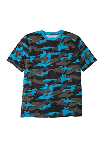 KingSize Men's Big & Tall Lightweight Crewneck T-Shirt, Electric Turquoise Camo Big-4XL ()