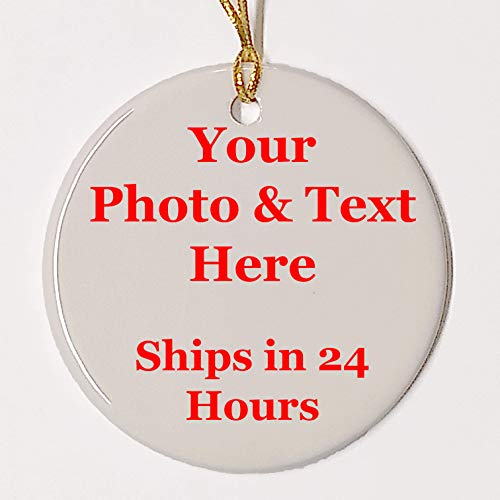 (Personalized Ornament, Add photo text or art design and make your own Customized Porcelain Ceramic Ornament, gold string and Gift Bag Included. Round Custom Photo Ornament for Christmas tree )