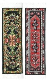 Oriental Carpet Bookmarks - Authentic Woven Fabric - Black Collection - 2 bookmark designs -Beautiful, Elegant,Cloth Bookmarks! Best Gifts & Stocking Stuffers for Men,Women,& Teachers!
