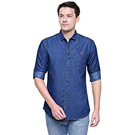 Kuons Avenue Men's Slim Fit Casual Denim Shirt