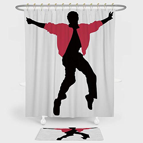 - iPrint Elvis Presley Decor Shower Curtain And Floor Mat Combination Set American Artist King Icon Blues Performer Singer Silhouette For decoration and daily use Dark Coral Black White