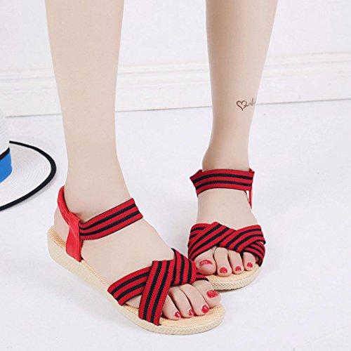 Elevin (tm) Dames Zomer Mode Bloemen / Bandage / Gestreepte Bohemen Peep-toe Platte Flip Flop Sandaal Schoenen Rood