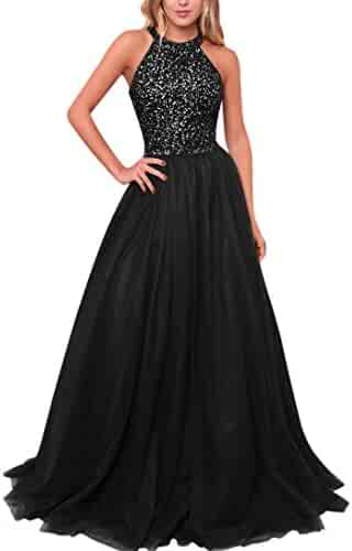 bc817e6298 Yangprom Halter Keyhole Back Tulle A-Line Prom Dress Sleeveless Evening Gown