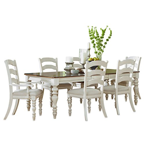 7-Piece Dining Set with Ladder Back Chairs in Old White