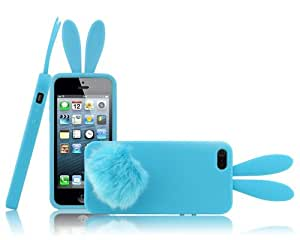 FJX New Bunny With stand Rabbit Tail back case for iPhone 5/5G/5th (Sky Blue)