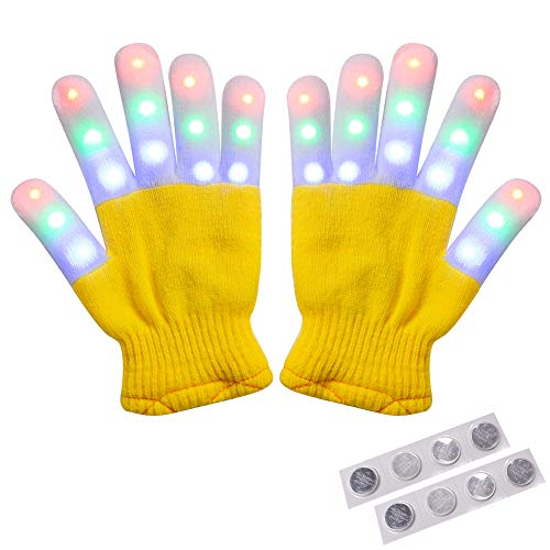 Amazer Kids Light Gloves Children Finger Light Flashing LED Warm Gloves with Lights for Birthday Light Party Christmas Xmas Dance Thanksgiving Day Gifts for More Fun- Yellow