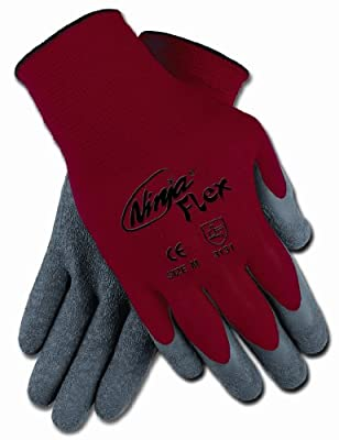 MCR Safety Ninja Flex Gloves, 15 Gauge Red Nylon Shell with Gray Latex Coating