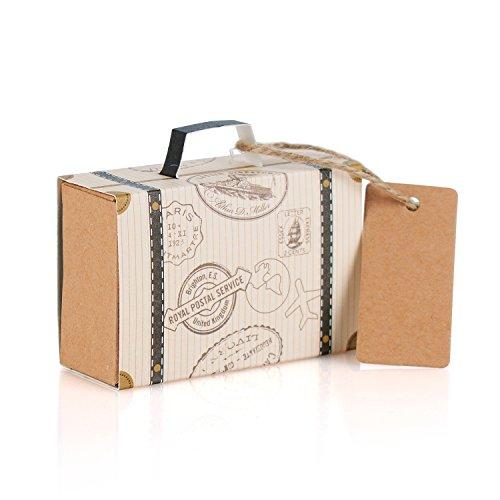 Wolfteeth 100pcs Bonbonnières Drageoir boîtes à dragées bonbons pour décoration de mariage coffret Valise de voyage