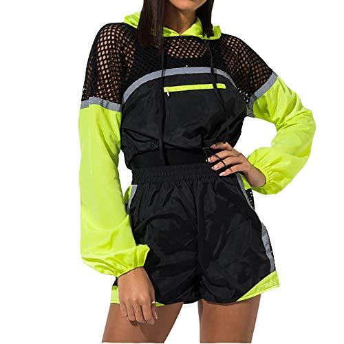 Women 2 Piece Windbreaker Outfit Jumpsuit Zipper Pullover Crop Top Jogger Shorts Set Tracksuit Black+Yellow M