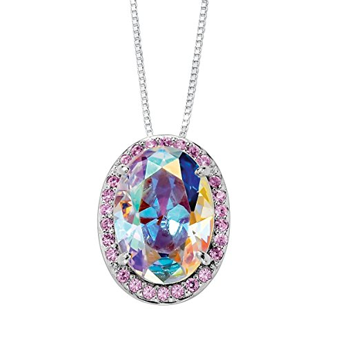 (Palm Beach Jewelry Silver Tone Oval Cut Aurora Borealis Cubic Zirconia Halo Drop Pendant Necklace with Box Chain, 18