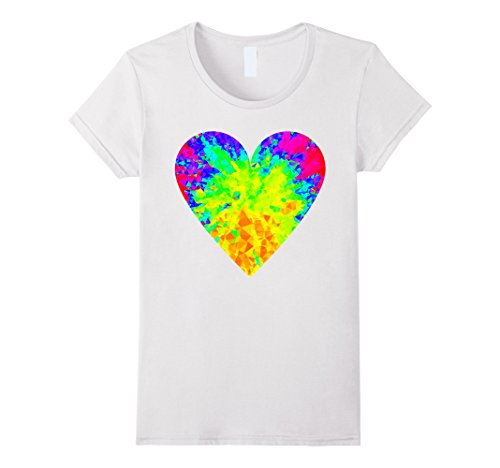 Womens EDM Electronic Dance Neon Techno Heart PLUR Rave T-Shirt Medium White (Plur T Shirt)