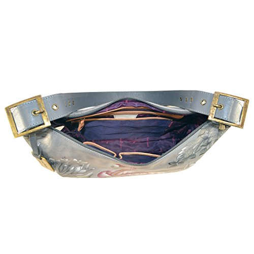 on Flamingo Art Hobo Lrg Leather Holder Flamboyant Purse Slim Tag amp; Foldable Anuschka Handbag 7xHR1txF