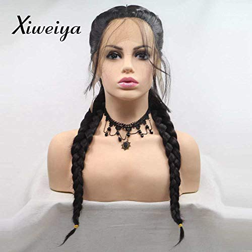 Xiweiya Black Double Braids Wigs Synthetic Braided Lace Front Wig with Baby Hair Wig Heat Resistant Fiber Middle Part synthetic lace front wigs Add Human Weaving Part ()
