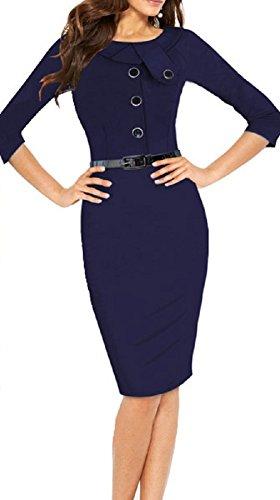 40 Navy Kleid Etui C X Damen mehrfarbig mehrfarbig Trendy 0Iz48wqR