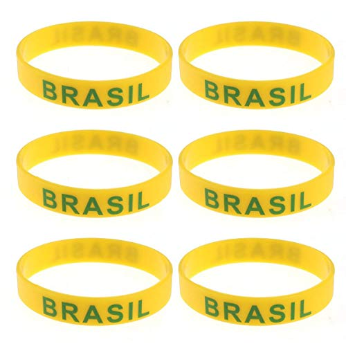 Lively Party Decor Brazil Silicone Wristband 2018 World Cup Country Wristband Soccer Sports Bracelet for Russia 2018 FIFA World Cup 6PCS ()